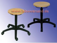 Lab stool with wooden seat